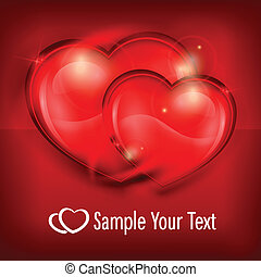 Two Hearts on red & text