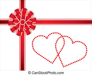 Two Hearts Present, Lace Bow - Lace edge red satin bow and...