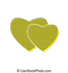 Two hearts sign. Vector. Yellow icon with square pattern duplica
