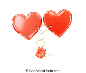 Two hearts together on a white background.