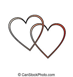 two hearts - two outlined hearts interlocked, red gradient ...