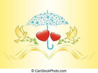 two hearts under umbrella - vector