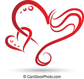 Two hearts - Vector drawing of stylized two hearts