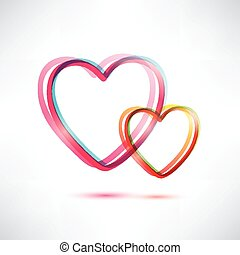 two hearts vector icon