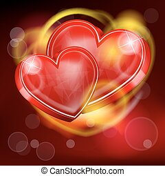 Two hearts - Vector illustration of two abstract hearts for...
