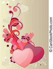 Two hearts with abstract elements on beige background