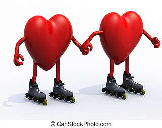 two hearts with arms, legs and rollerskates, hand in hand,...