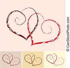 two hearts with color variations