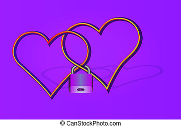 Two hearts with crossed contours in a hinged lock on the violet gradient background.