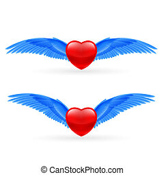 Two hearts with rwings