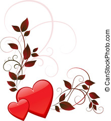 Two hearts with swirls and leaves