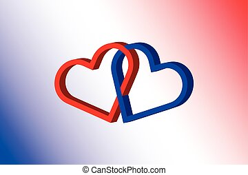two hearts,two linked hearts