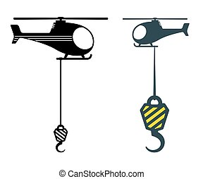 Two heavy duty hooks suspended from choppers or helicopters ...