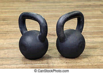two heavy kettlebell black