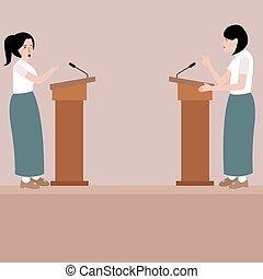 two high school girl debate on stage podium public speaking contest presentation
