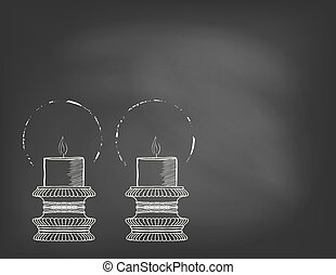 Two highly ornamental candles on blackboard - Hand drawn...