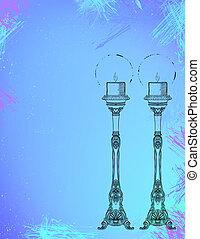 Two highly ornamental candles on watercolor. - Hand drawn...