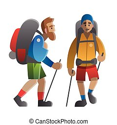 Two hikers and backpackers. Trekking, hiking, climbing, traveling.