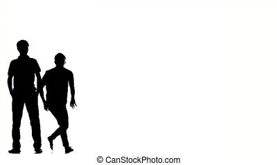 Two hip hop acrobatic break-dancers stylish men dancing, on white, silhouette