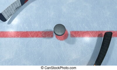 Two Hockey Sticks Fighting for the Puck on Ice in Throw-in...