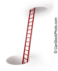 Two holes and ladder  isolated on a white background