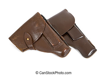 Two holsters on white background