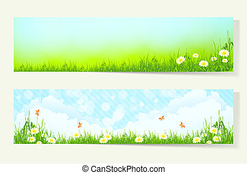 Two Horizontal Banners with Nature Backgrounds