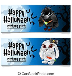 Two horizontal cards on the theme of the Halloween holiday. Vector illustration.