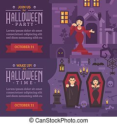 Two horizontal holiday banners with text. Join us for Halloween party. Young girl in a dress on the porch of a haunted house. Wake up! It's Halloween time. Two vampires sleeping in coffins in a crypt