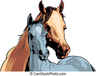 two horses (heads)