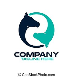 Two horses in a circle logo.Vector illustration.