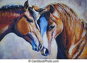 Two horses - Portrait of two beautiful horses acrylic...