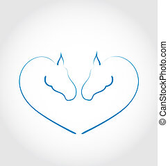 Two horses stylized heart shape - Illustration two horses...