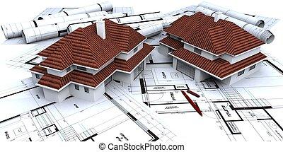 two houses mockups on blueprints