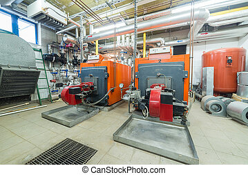 furnaces - two huge furnaces in the boiler room