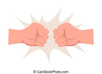 Two human fists punching, bumping each other vector flat illustration isolated on white background.