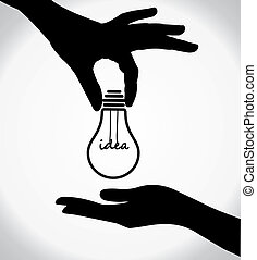 two human hand silhouettes sharing of idea light bulb with...