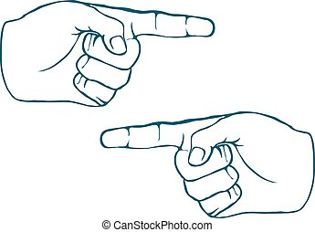 Two Human Hands Index Finger Hand Drawn Vector