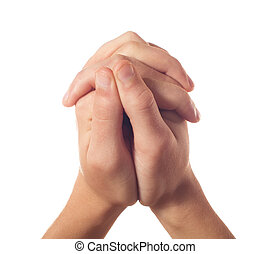 Two human hands on white background
