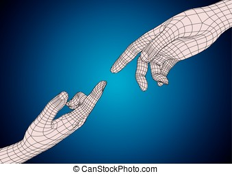 Two human hands pointing each other with index finger - Two...
