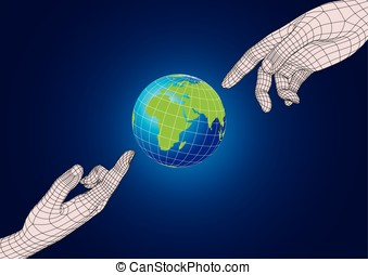 Two human hands pointing to planet earth - Two wireframe...