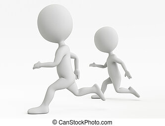 Three dimensional two humanoid character running