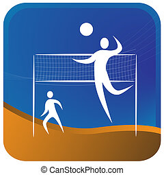 two humans playing volley ball game