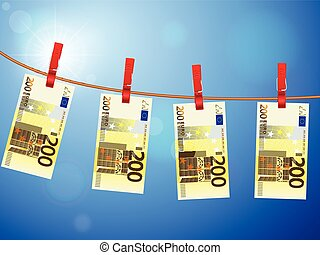 two hundred euro banknotes on clothesline