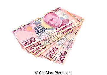 two hundred Turkish Lira on a white background