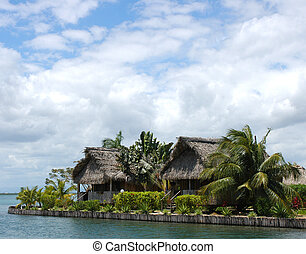 Two huts made from palms in Belize, Luxury accomodation