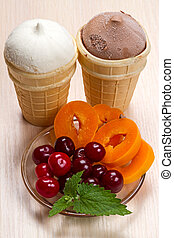 Two ice cream and fresh fruit