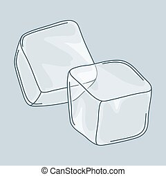 Two ice cubes set on white background.