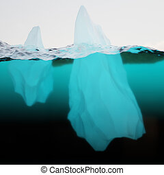 Two icebergs on water surface