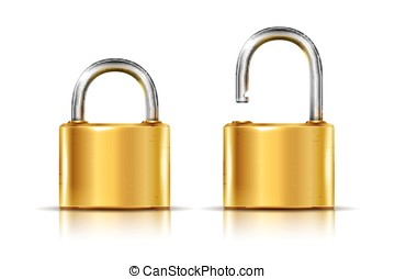 Two icons - golden padlock in the open and closed position